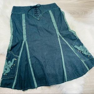 Anthropologie Cordelia Lace Up Festival Skirt S